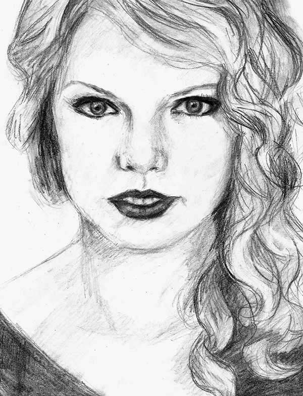 Taylor Swift, : How to Draw Taylor Swift Coloring Page