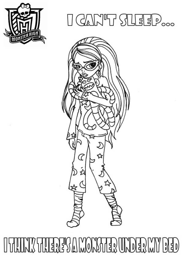 Monster High, : I Think Theres a Monster Under My Bed in Monster High Coloring Page