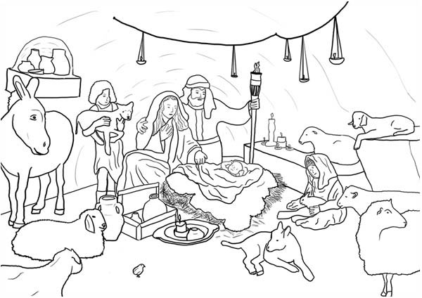 jesus in the stable coloring pages | Jesus Born In Stable Coloring Pages