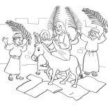Palm Sunday, Jesus Entry Into Jerusalem In Palm Sunday Coloring Page: Jesus Entry into Jerusalem in Palm Sunday Coloring Page