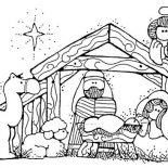 Nativity, Jesus Nativity In Cartoon Depiction Coloring Page: Jesus Nativity in Cartoon Depiction Coloring Page