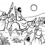 Palm Sunday, Jesus Rode A Donkey To Jerusalem In Palm Sunday Coloring Page: Jesus Rode a Donkey to Jerusalem in Palm Sunday Coloring Page