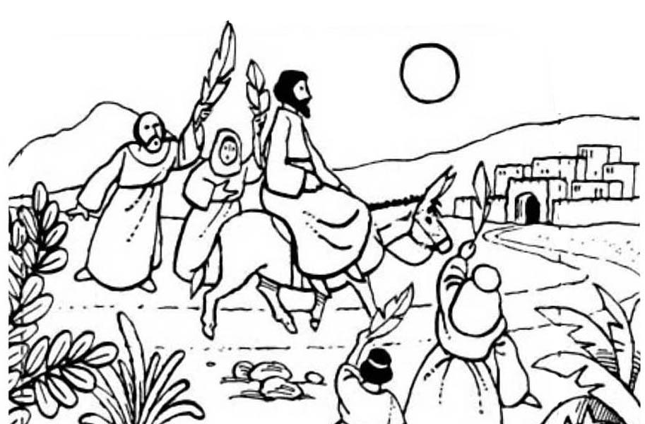Palm Sunday, : Jesus Rode a Donkey to Jerusalem in Palm Sunday Coloring Page