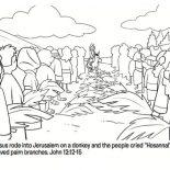 Palm Sunday, Jesus Rode Into Jerussalem On A Donkey In Palm Sunday Coloring Page: Jesus Rode into Jerussalem on a Donkey in Palm Sunday Coloring Page