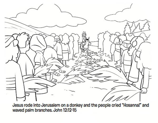 Palm Sunday, : Jesus Rode into Jerussalem on a Donkey in Palm Sunday Coloring Page