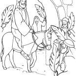 Palm Sunday, Jesus Through Jerusalem Gate In Palm Sunday Coloring Page: Jesus Through Jerusalem Gate in Palm Sunday Coloring Page