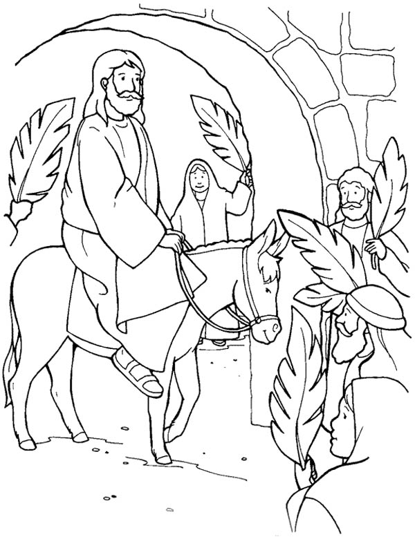 Palm Sunday, : Jesus Through Jerusalem Gate in Palm Sunday Coloring Page