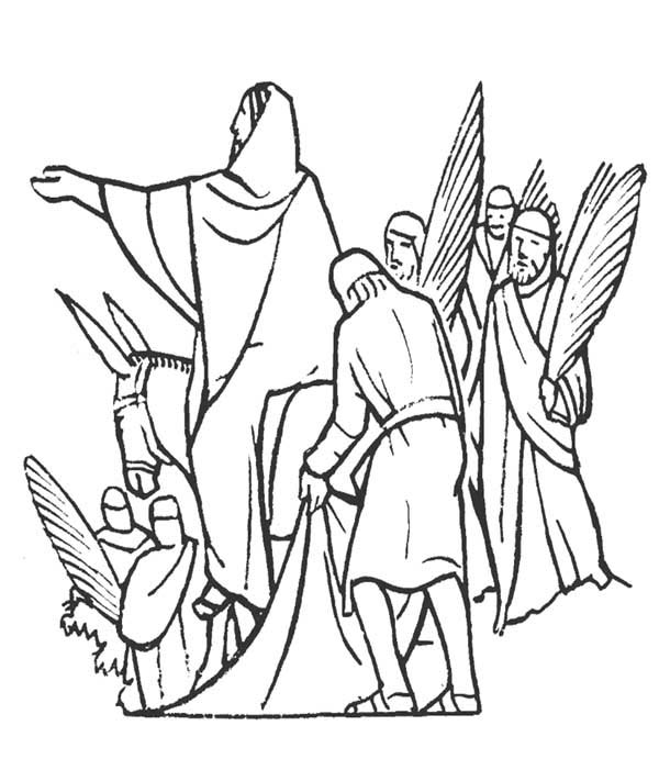 Jesus And People Of Jerusalem In Palm Sunday Coloring Page