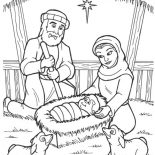 Nativity, Jesus Is Born In A Manger In Nativity Coloring Page: Jesus is Born in a Manger in Nativity Coloring Page