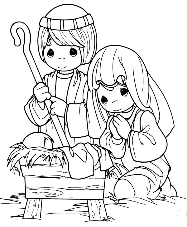 Nativity, : Joseph and Mary in Jesus Christ Nativity Coloring Page