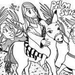 Palm Sunday, Kid Drawing Of Palm Sunday Coloring Page: Kid Drawing of Palm Sunday Coloring Page