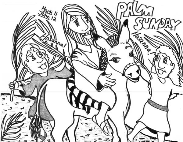 Palm Sunday, : Kid Drawing of Palm Sunday Coloring Page