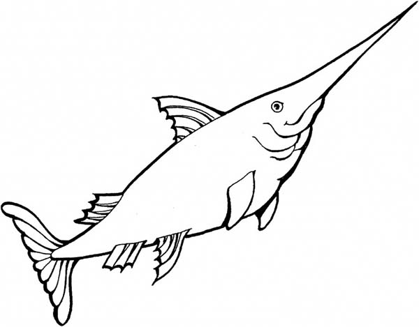 Swordfish, : Kid Drawing of Swordfish Coloring Page