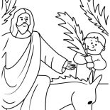 Palm Sunday, Kid Wave Palm Tree Branch In Front Of Jesus In Palm Sunday Coloring Page: Kid Wave Palm Tree Branch in Front of Jesus in Palm Sunday Coloring Page