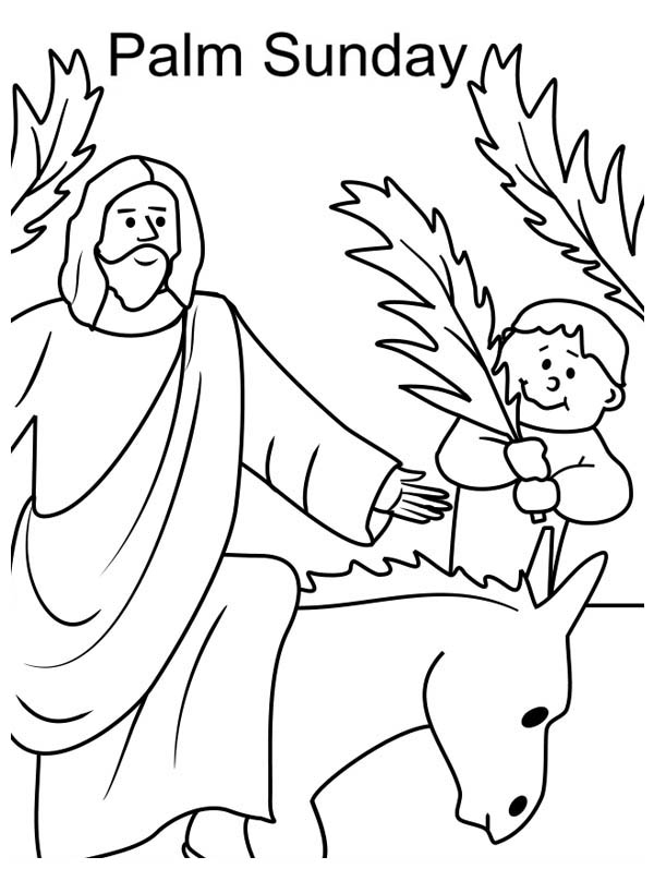 Palm Sunday, : Kid Wave Palm Tree Branch in Front of Jesus in Palm Sunday Coloring Page