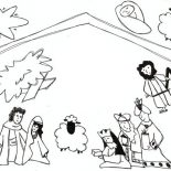 Nativity, Kids Drawing Of Jesus In Nativity Coloring Page: Kids Drawing of Jesus in Nativity Coloring Page