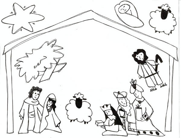 Nativity, : Kids Drawing of Jesus in Nativity Coloring Page
