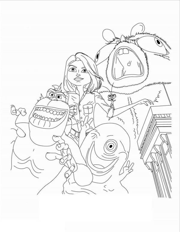 Monsters vs Aliens, : Kids Drawing of Monster vs Aliens Coloring Page