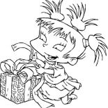 Rugrats, Kimi Finster Open Her Present In Rugrats Coloring Page: Kimi Finster Open Her Present in Rugrats Coloring Page