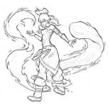 The Legend of Korra, Korra Begin To Water Bending Coloring Page: Korra Begin to Water Bending Coloring Page
