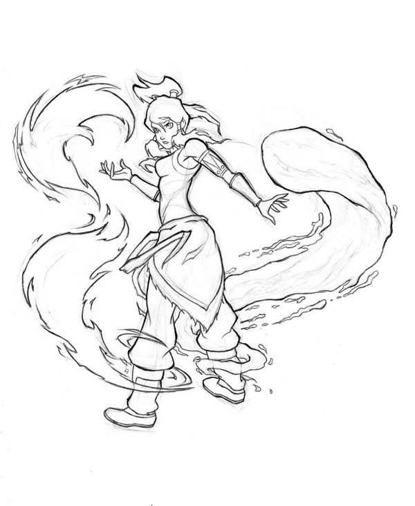 The Legend of Korra, : Korra Begin to Water Bending Coloring Page