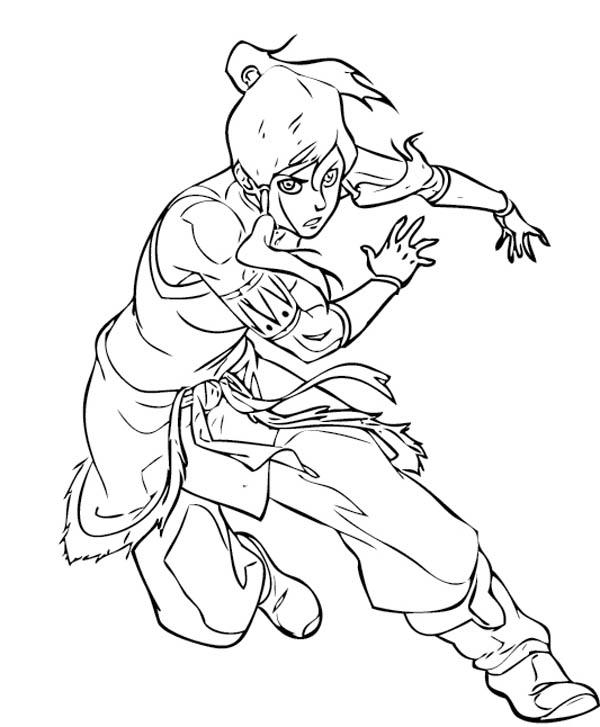 The Legend of Korra, : Korra Dodging Enemys Attack Coloring Page