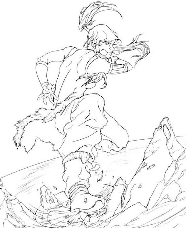The Legend of Korra, : Korra Ice Breaking Coloring Page