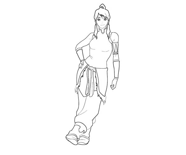 The Legend of Korra, : Korra Lean Back on the Wall Coloring Page