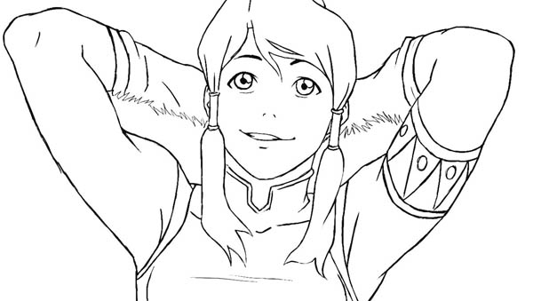 The Legend of Korra, : Korra is Relax Coloring Page