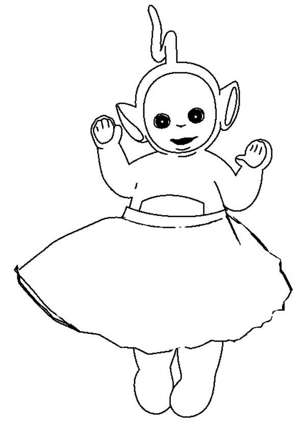 Teletubbies, : Laa Laa Wear Skirt in the Teletubbies Coloring Page