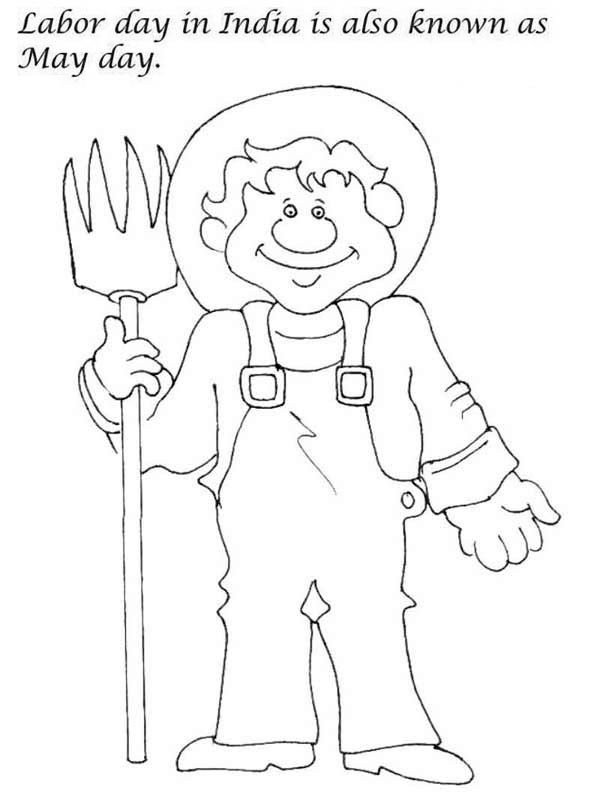 Labor Day, : Labor Day in India is also Known as May Day Coloring Page