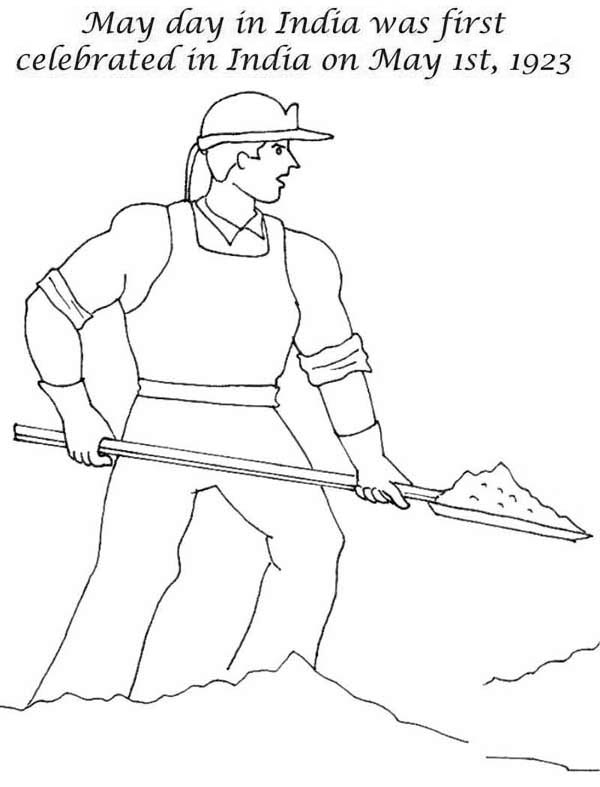 Labor Day, : Labor Day in India was First Celebrated on May First 1923 Coloring Page