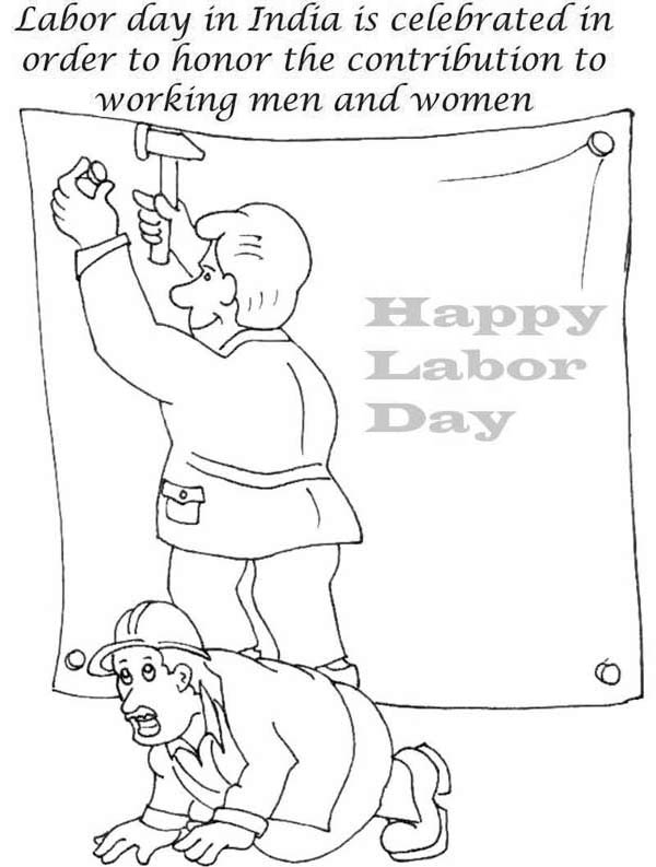 Labor Day, : Labor Day is Celebrated in Order to Honor the Contribution to Working Men and Women Coloring Page