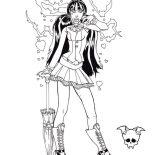 Monster High, Lady Rocker In Monster High Coloring Page: Lady Rocker in Monster High Coloring Page