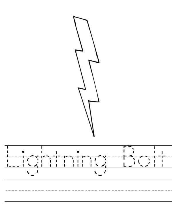 Lightning Bolt, : Lighting Bolt  Worksheet Coloring Page