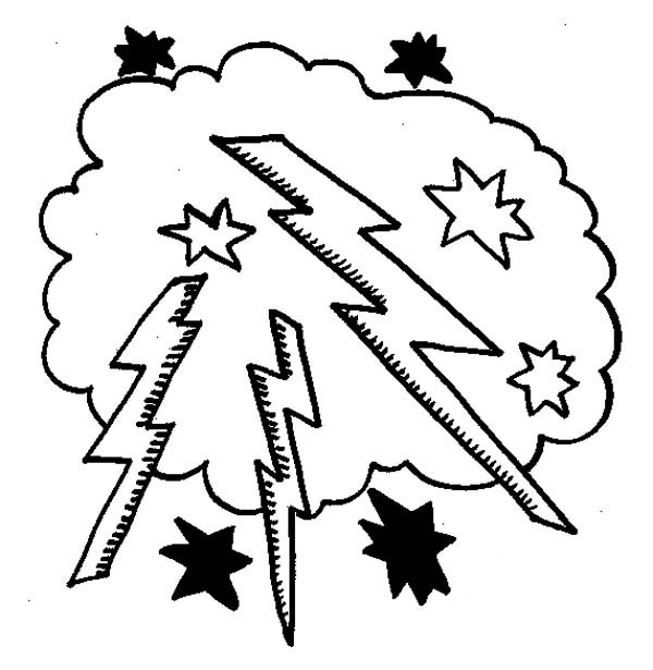 Lightning Bolt, : Lighting Bolt in the Cloud Coloring Page