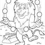 Lion, Lion Juggling With Many Ball Coloring Page: Lion Juggling with Many Ball Coloring Page