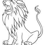 Lion, Lion Roaring Coloring Page: Lion Roaring Coloring Page
