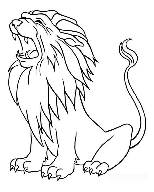 Lion, : Lion Roaring Coloring Page