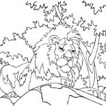 Lion, Lion Sitting Under The Tree Coloring Page: Lion Sitting Under the Tree Coloring Page