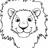 Lion, Lion Smiling Face Coloring Page: Lion Smiling Face Coloring Page