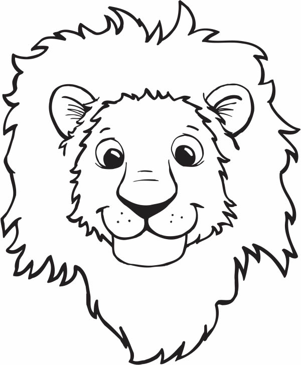 Lion, : Lion Smiling Face Coloring Page