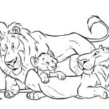 Lion, Lion And His Group Coloring Page: Lion and His Group Coloring Page