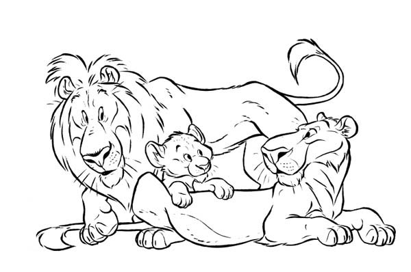 Lion, : Lion and His Group Coloring Page
