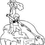 Swordfish, Little Boy Fight With Swordfish Coloring Page: Little Boy Fight with Swordfish Coloring Page