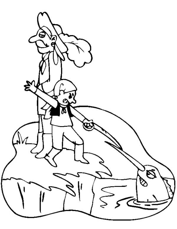 Swordfish, : Little Boy Fight with Swordfish Coloring Page