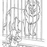 Lion, Little Cover Her Ear When She Hear Lion Roar Coloring Page: Little Cover Her Ear When She Hear Lion Roar Coloring Page