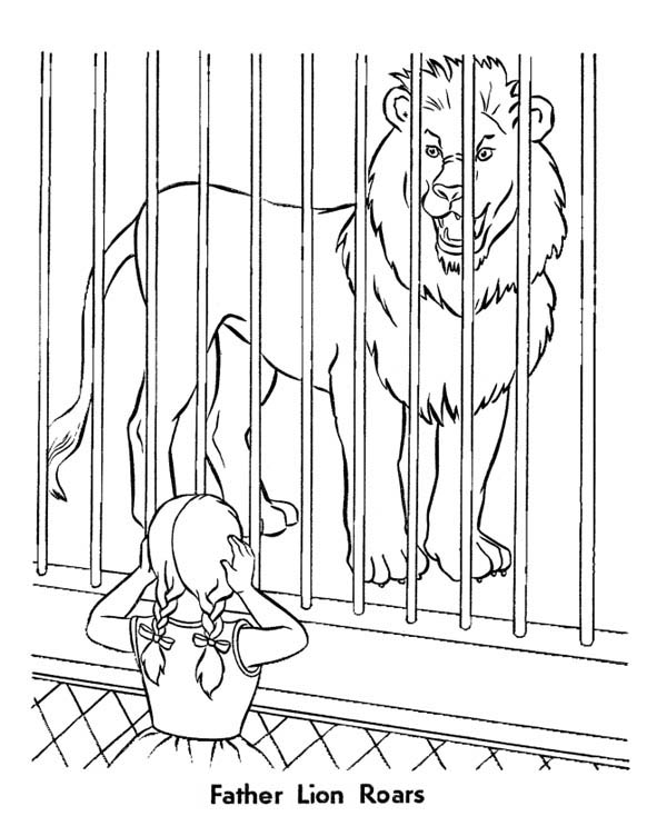 Lion, : Little Cover Her Ear When She Hear Lion Roar Coloring Page