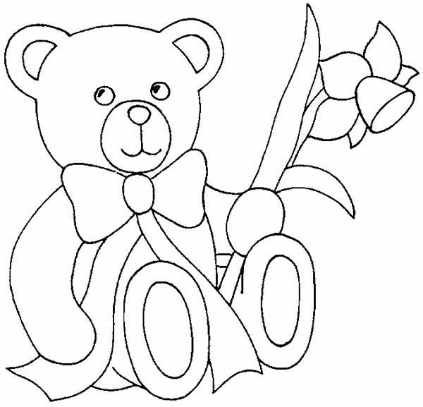 Teddy Bear, : Little Valeentine Teddy Bear Coloring Page