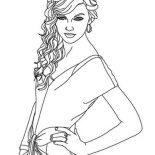 Taylor Swift, Lovely Taylor Swift Coloring Page: Lovely Taylor Swift Coloring Page
